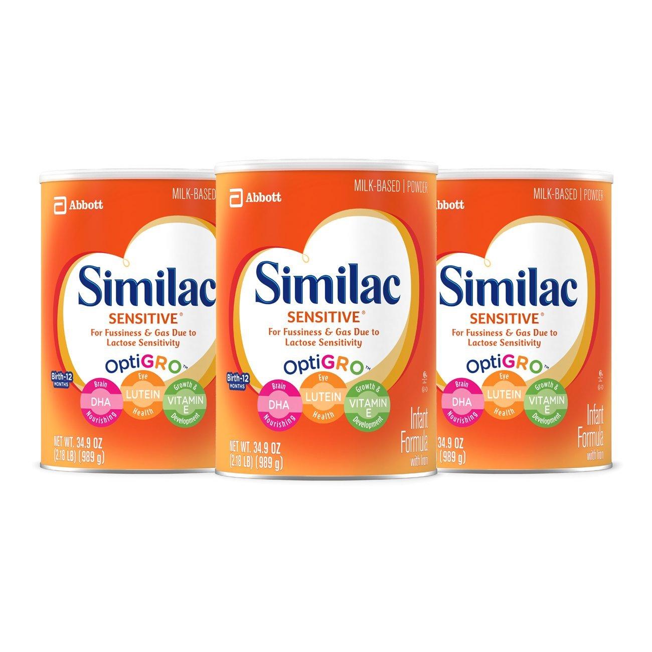 3-Pack Similac Sensitive Infant Milk Formula w/ Iron (34.9oz) - $55.64 + Free S/H