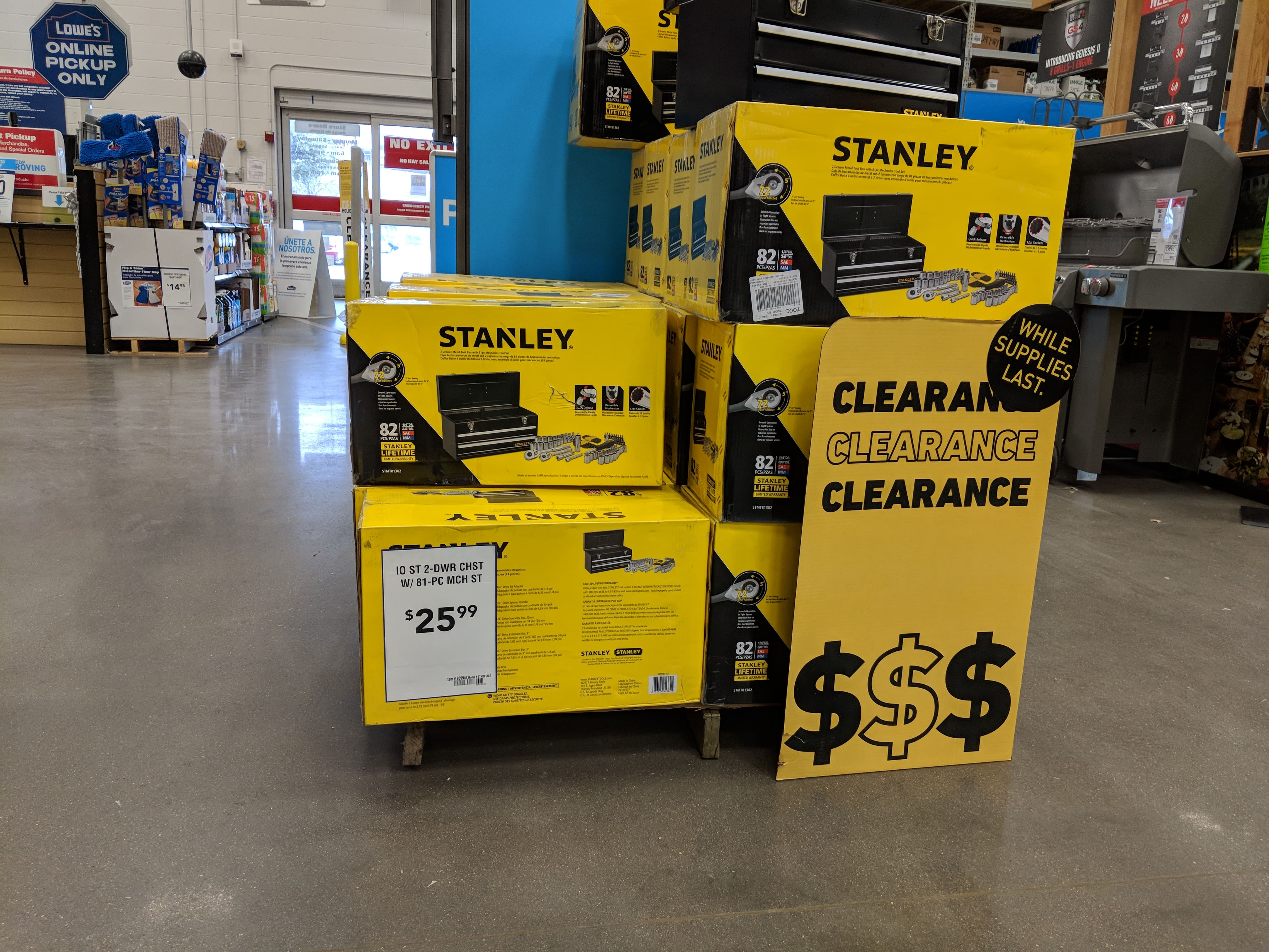 Stanley 81pcs Tool Set with Tool Chest at Lowes for $26 B&M YMMV