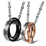 Stainless Steel His & Hers Matching Necklace Pendent Ring Set $16.99 AC + Prime Eligible or FSSS @ Amazon.com