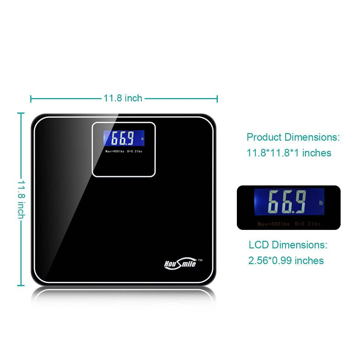 Housmile Precision 400 Lb Digital Bathroom Scale with Extra Large Backlit Display for $17.99 AC + FSSS or FS w/ Prime @ Amazon.com