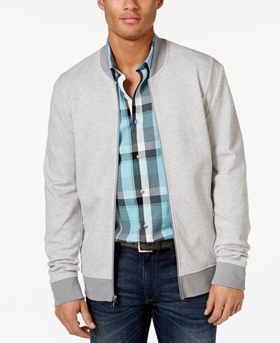 Today Only! Macys.com Men's Alfani Slim Pique Bomber Track Jacket $9.99 (Originally $69.50)