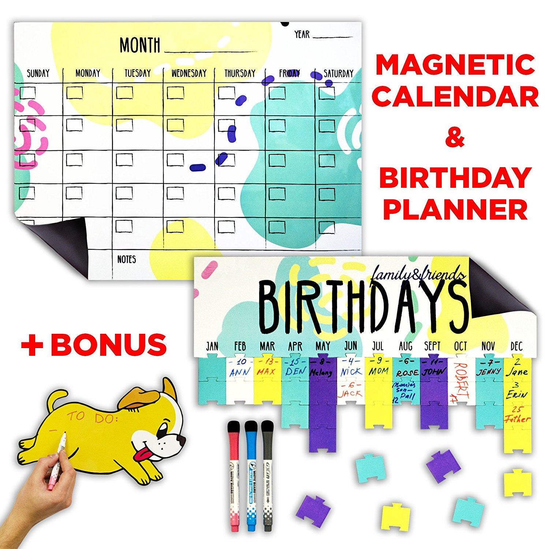Dry Erase Magnetic Set: Calendar 2018 + Birthday Planner + Fun Notepad + 3 Markers - $12.76