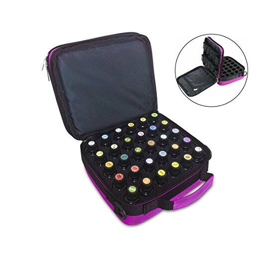 40% OFF -  42-Bottle Essential Oils Carrying Case Essential Oils Display Organizer Travel Bag with Foam Insert - Holds 5ml, 10ml, 15ml Bottles - $14.39
