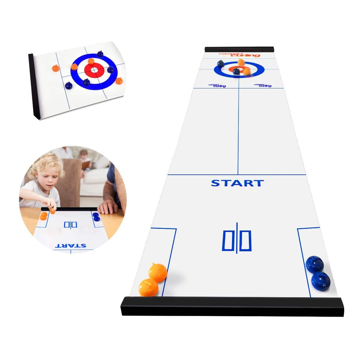 50% OFF - BicycleStore Table Top Curling Game for Family, Adults and Kids Team Board Game Training for Indoor or Travel Compact Storage - $8.99