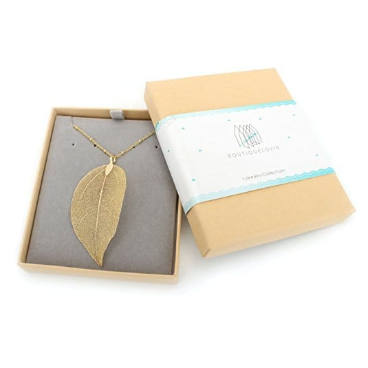 50% OFF - Women's Real Natural Filigree Leaf Long Pendant Necklace Trendy Bohemian Jewelry [B.Golden Necklace] - $4.97