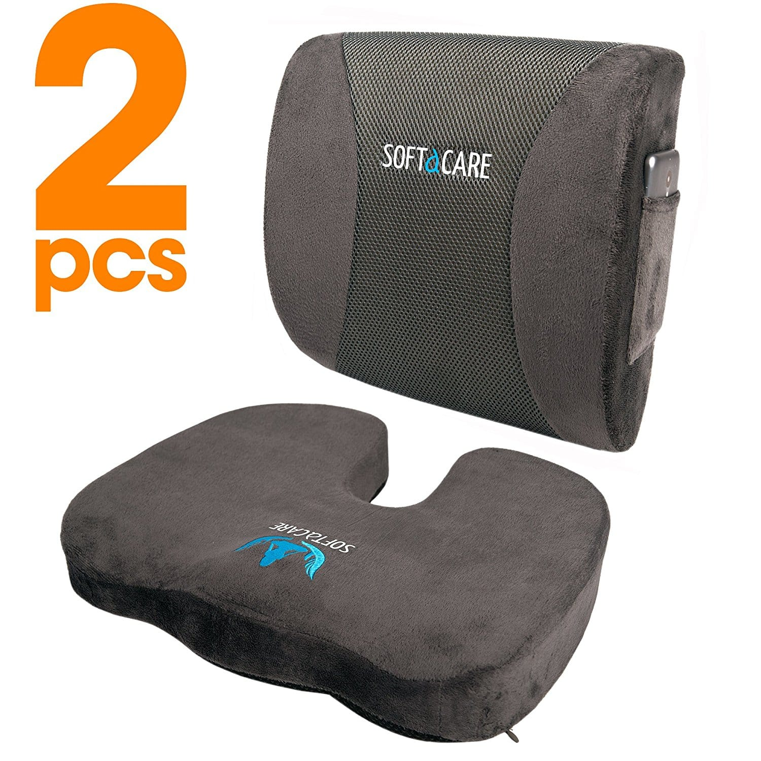 20% OFF - Seat Cushion Coccyx Orthopedic Memory Foam and Lumbar Support Pillow, Set of 2, Dark Gray - $29.41