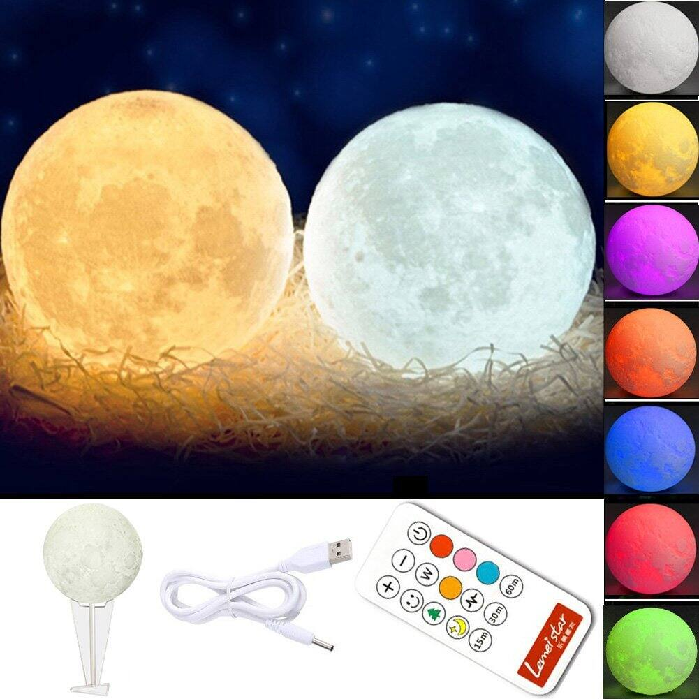 60% OFF - Globalstore 3D Moon Lamp Baby Night Light Remote Control, White and Warm White with Adjustable 7 Colors Rechargeable and Timer(5.9Inch) -$8.79