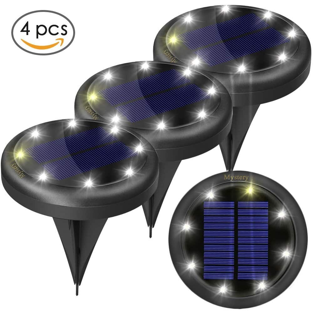 40% OFF - 4pcs Solar Ground Lights for Pathway Garden Steps - Auto on and Off - 2 Light Settings, Waterproof - (White) - $17.99