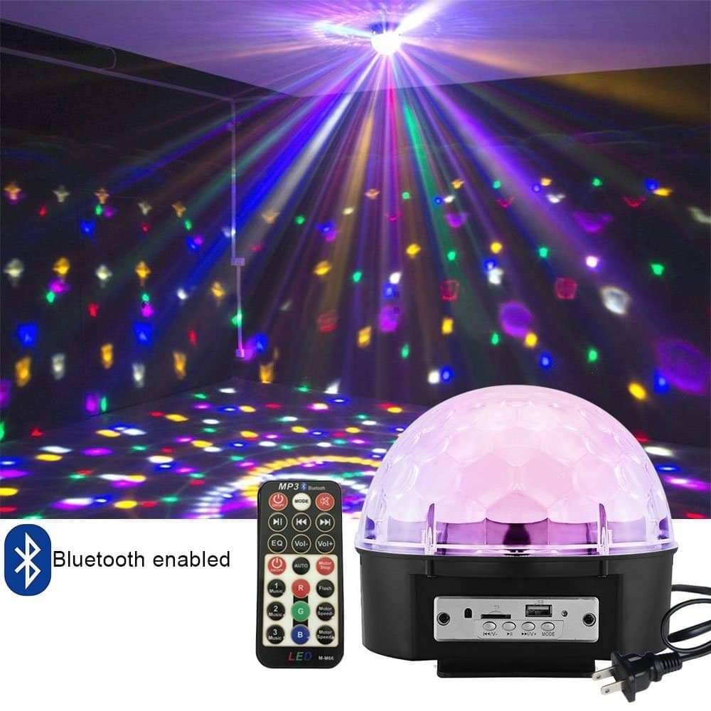 50% OFF - Disco Ball Strobe Light Party Lights, 6 Color Sound Activated Stage Lights with Remote Control MP3 Player for Home Dance Birthday DJ Bar Karaoke Xmas - $12.99