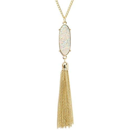 40% OFF - Sparkly Faux Druzy Pendant Tassel Necklace Gold Tone Long Chain Statement Jewelry for Women -$6.95