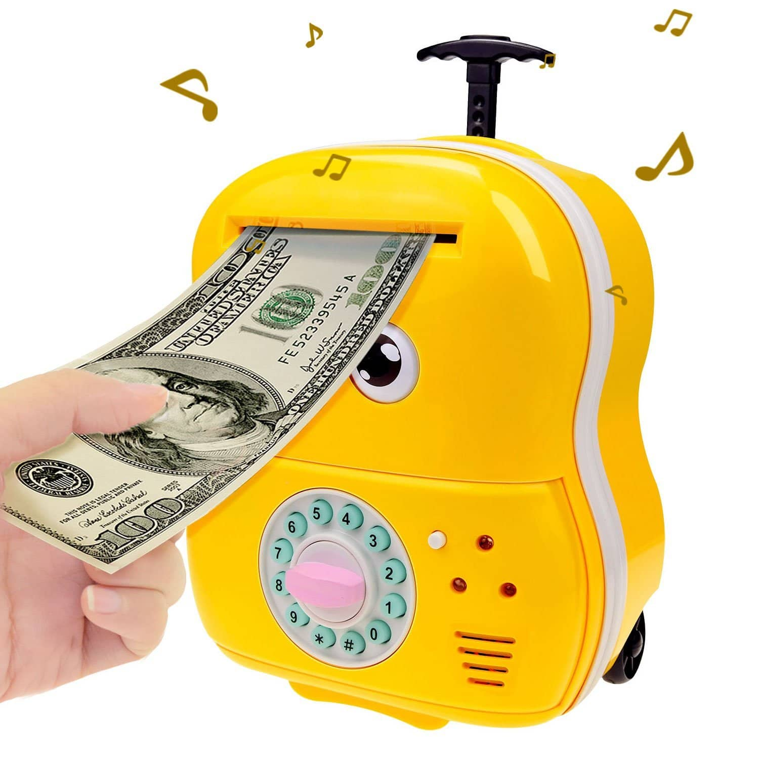 40% OFF - Cartoon Money Bank Electronic Password Piggy Bank Cash Coin Can Safe Saving Box ATM Bank with Music, Eyes Blink, Trolley Money Box Gift for Kids (Yellow) -$ 13.79 $13.79