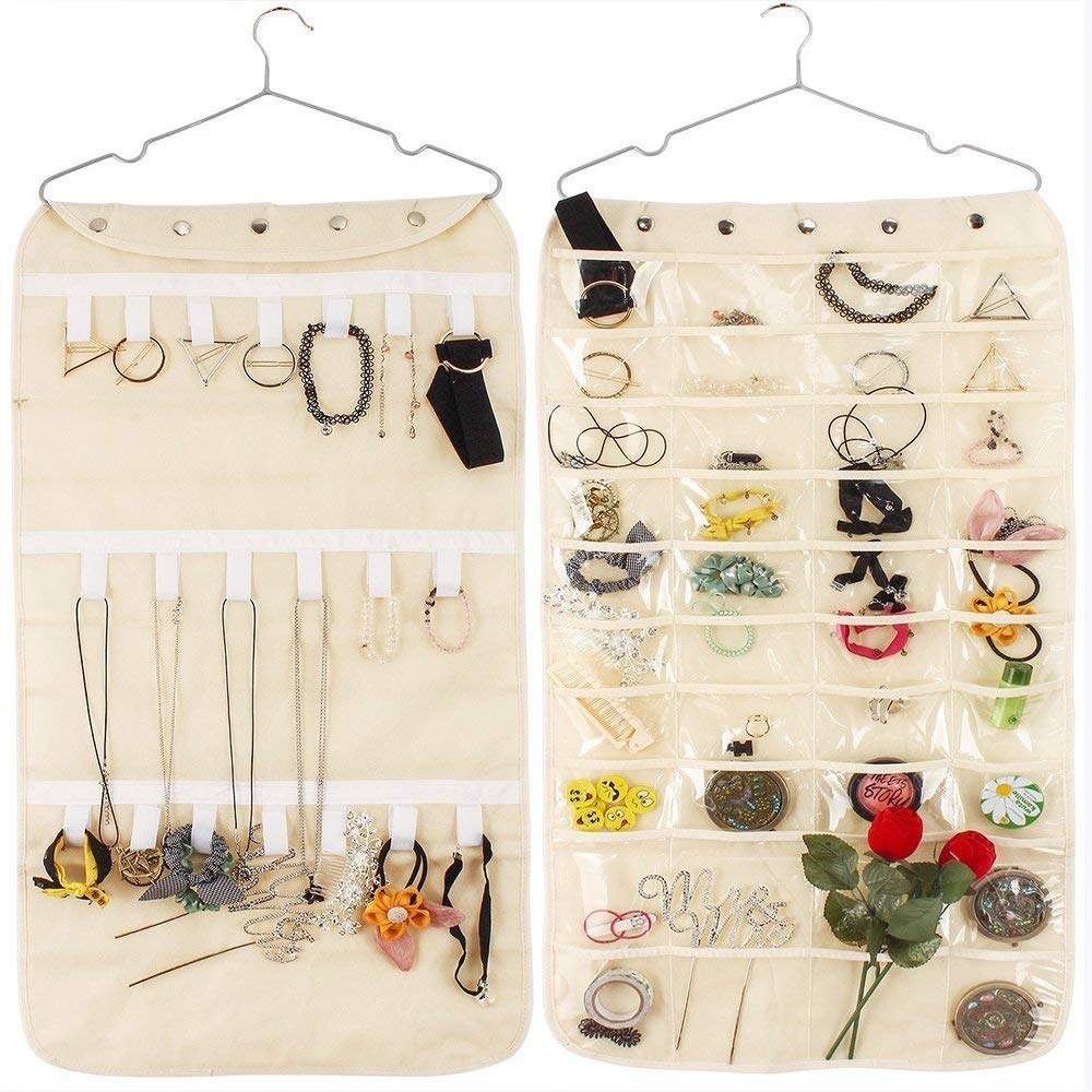 50% OFF - Jewelry Organizer Hanging Dual Sides Jewelry Storage Bag Organizer Holder 40 Pockets 21 Hook and Loops Non-Woven Closet Storage - $6.99