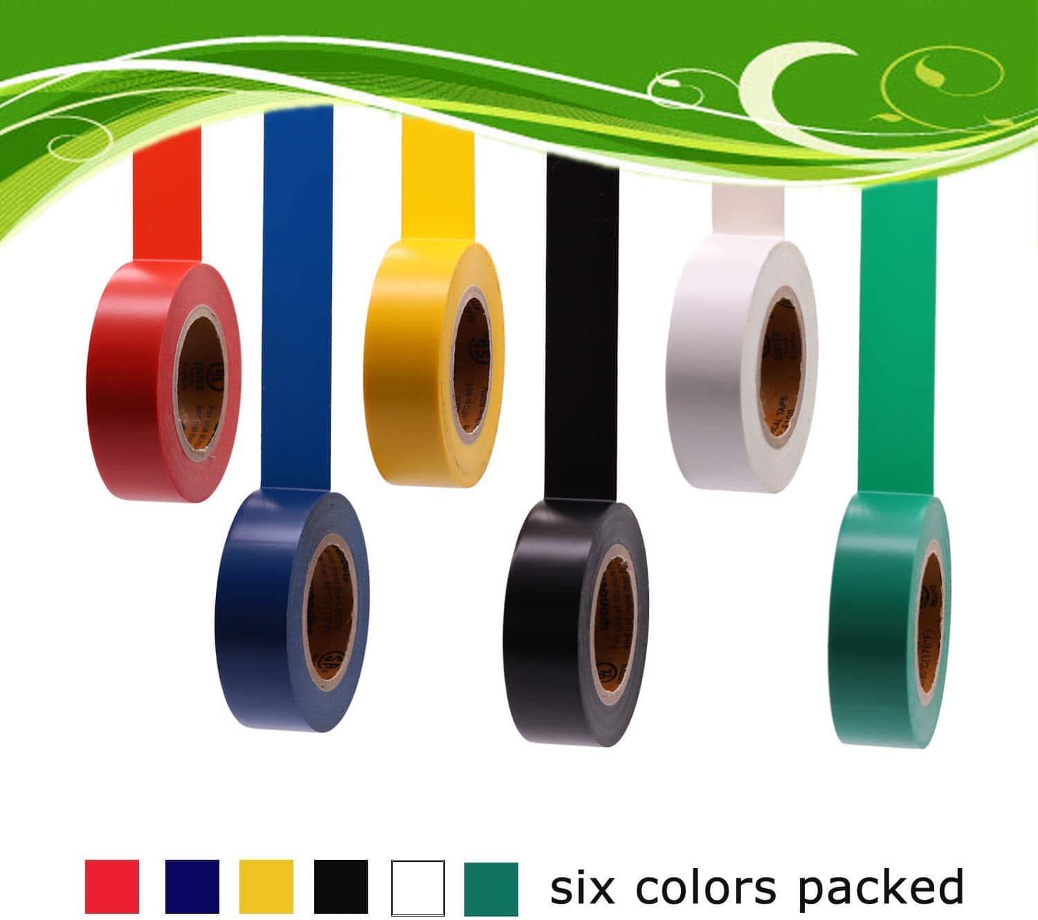 40% OFF - Electrical Tape Colors 6 Pack 3/4-Inch by 30 Feet, Voltage Level 600V Dustproof Multicolor - $5.39