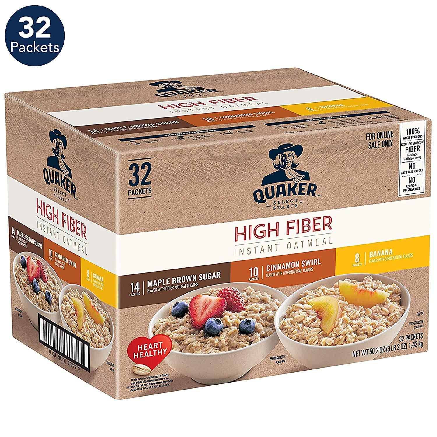 32-Count Quaker High Fiber Instant Oatmeal (3-Flavor Variety Pack) $9.61