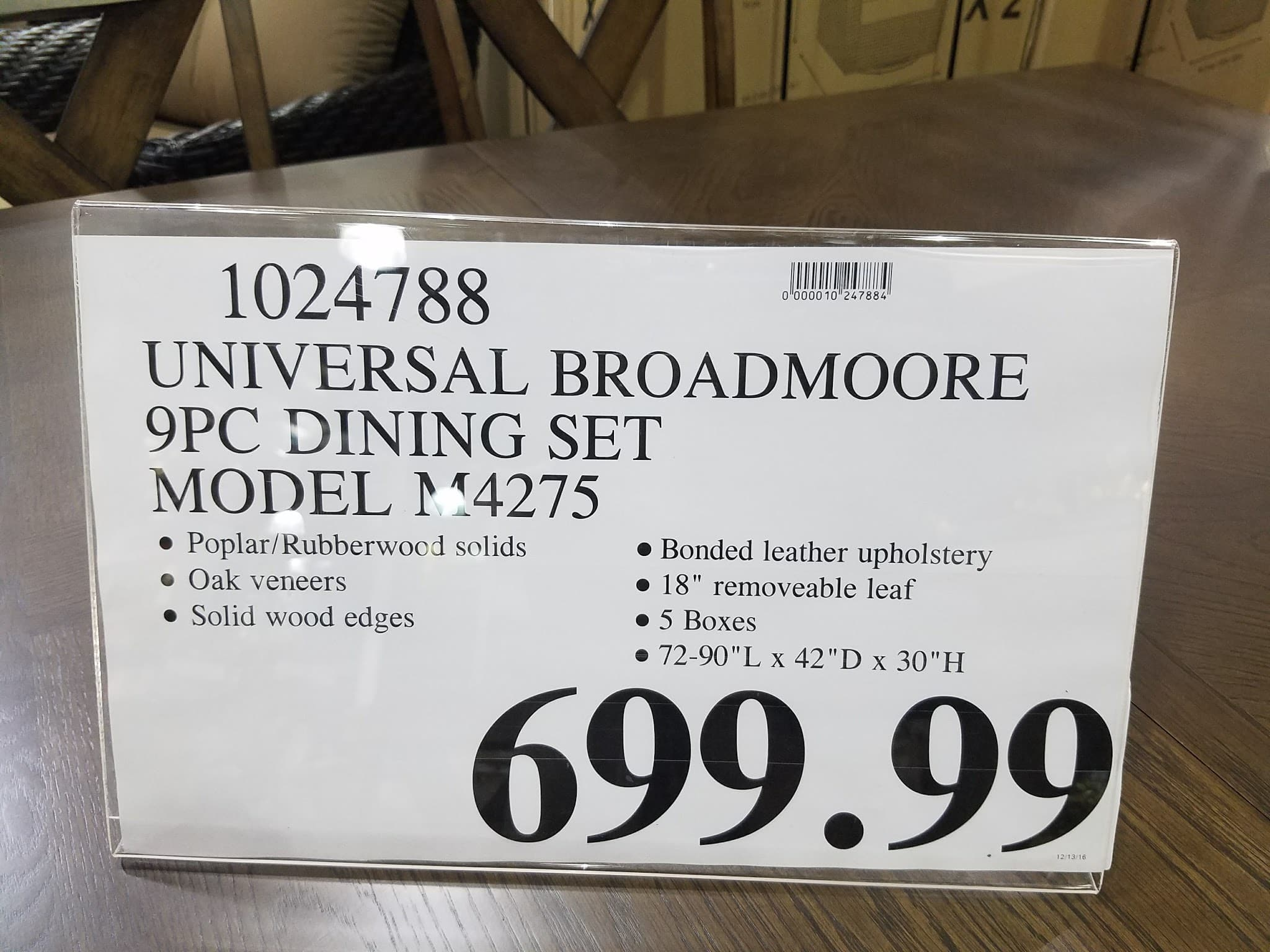 Universal Broadmoore 9pc Dining Set At Local Costco Warehouse YMMV 699.99$    Slickdeals.net