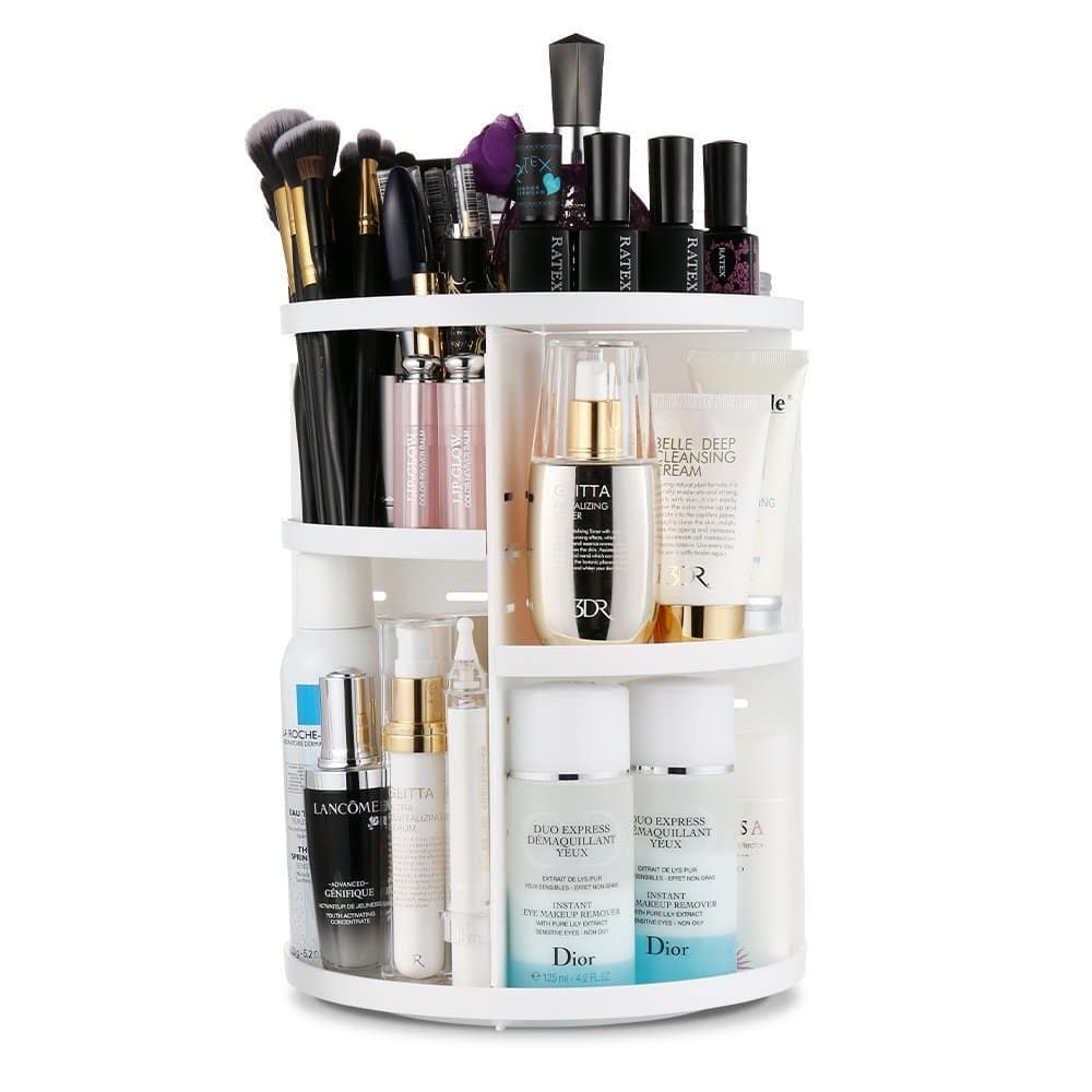 $14.77 Jerrybox 360 Degree Rotation Adjustable Makeup Organizer at Amazon.com, Free shipping with Prime