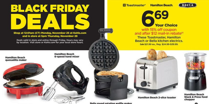 Kohl's Black Friday: Bella Round Rotating Waffle Maker for $6.69 after $12 rebate