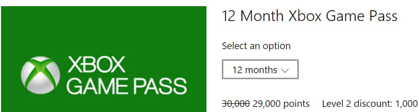 Xbox Game Pass is Now on Microsoft Rewards! Level 2 Members- (29,000 points for 12 months) (6.800 points for 1 month)