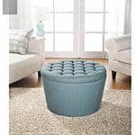 Better Homes and Gardens Round Tufted Storage Ottoman $38 Walmart (Free Store Pickup)