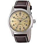 """Hamilton Men's H70555523 """"Khaki Field"""" Stainless Steel Watch with Brown Leather Band $399@ amazon"""