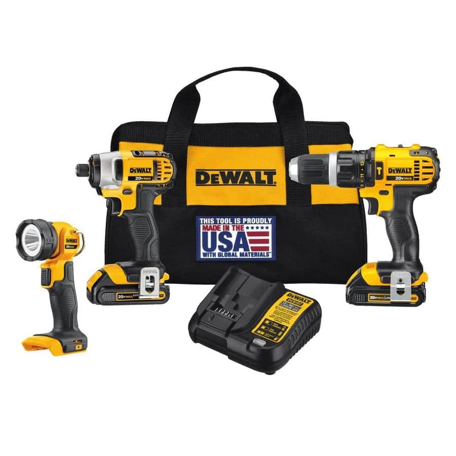 ~$160 - DEWALT 3-Tool 20-volt Max Lithium Ion Cordless Combo Kit (Hammer Drill, Impact Drill, Flashlight & 2 Batteries)