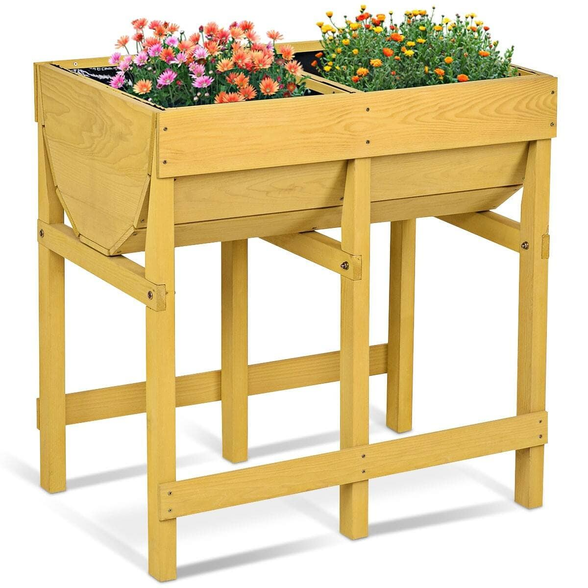 Costway Raised Wooden Planter Vegetable Flower Bed with Liner $53.95 + FS