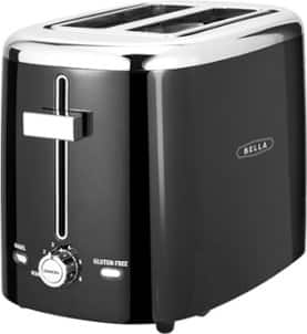 Bella 2-Slice Extra-Wide/Self-Centering-Slot Toaster - Black w/ Stainless Steel Accents $9.99