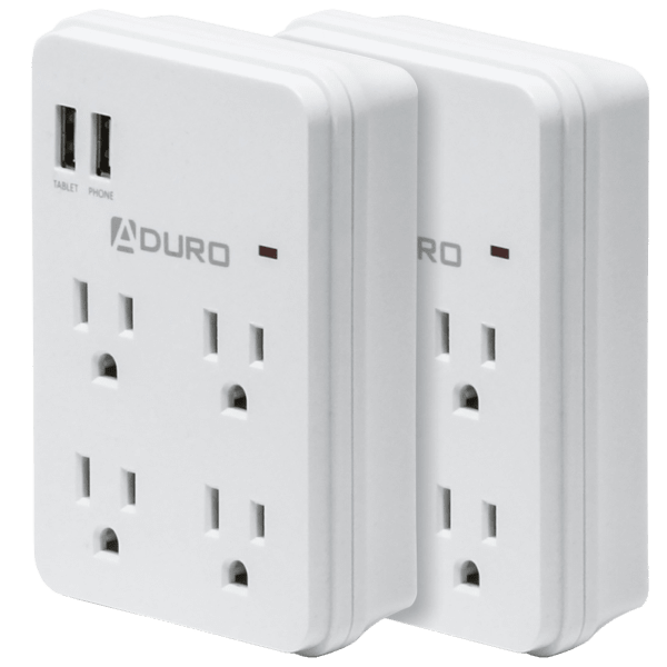 2-Pack Aduro Surge Multi Charging Station with 4 Outlets & Dual USB 2.1A Ports $16
