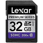 32GB Lexar Premium Series 200x Class 10 Flash Memory  $10 + Free Shipping