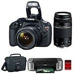 Canon EOS Rebel T5 18MP SLR Camera + 18-55mm & 75-300mm Lenses + Canon Case + Pro 100 Printer and 50 Pack Photo Paper $399 AR + Free Shipping!