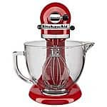 KitchenAid® 5-Quart Tilt-Head Stand Mixer with Glass Bowl (KSM105GBC) in Blue, Red or Chrome $230 + Free Shipping