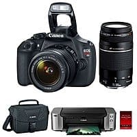 BuyDig Deal: Canon EOS Rebel T5 18MP SLR Camera + 18-55mm & 75-300mm Lenses + Canon Case + Pro 100 Printer and 50 Pack Photo Paper $399 AR + Free Shipping!