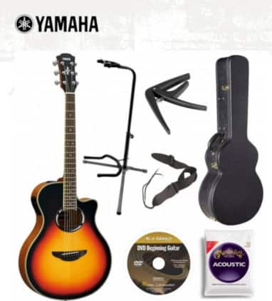 Yamaha APX500IIIVS Thin Line Acoustic/Electric Cutaway Guitar, Vintage Sunburst Bundle with Case and Accessories $275 after MIR + Free Shipping!