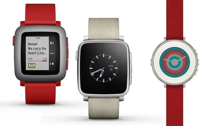 Pebble Time Smartwatch for iPhone and Android Devices - Square Red or White (Manufacturer-Refurbished) $80 + Free Shipping!