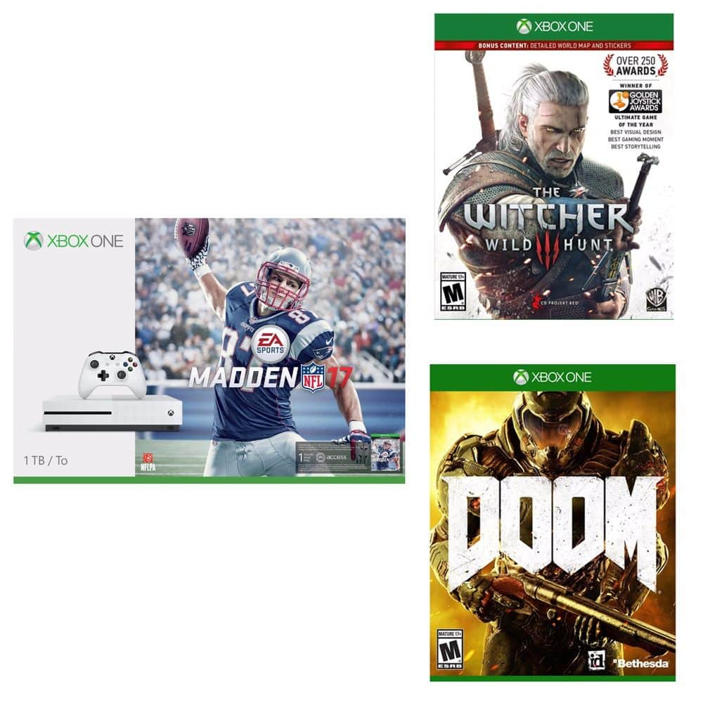 Xbox One S 1TB Console - Madden NFL 17 Bundle + Doom + The Witcher III: Wild Hunt $369 + Free Shipping (eBay Daily Deal)