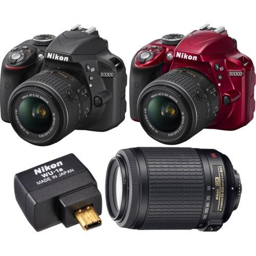 Nikon D3300 24.2MP 1080p Digital SLR Camera w/ 18-55mm VR II Lens + 55-200mm VR Lens + Nikon WU-1a Wifi Adapter (Refurbished) $399 + Free Shipping (eBay Daily Deal)