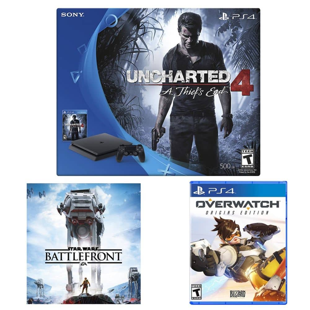 Playstation 4 Slim Uncharted 4 Console + Overwatch + StarWar Battle (Voucher) $310 + Free Shipping (eBay Daily Deal)