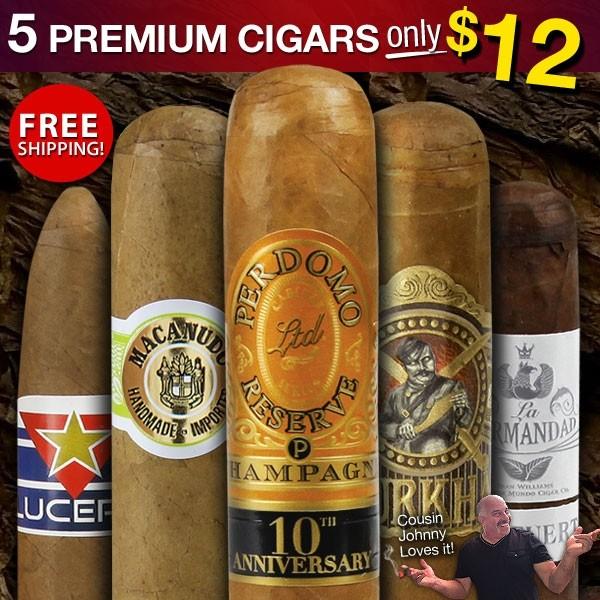 Cigar Page Mild n' Mellow Premium Sampler. 5 Premium Cigars for $12 + Free Shipping