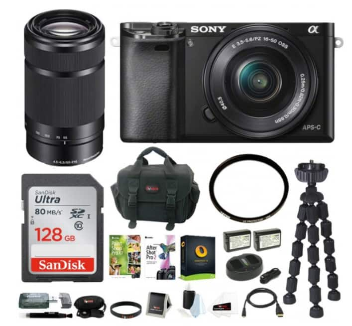 Sony Alpha a6000 Mirrorless Camera w/ 16-50mm & 55-210mm Lenses & 128GB Bundle for $748 + Free Shipping