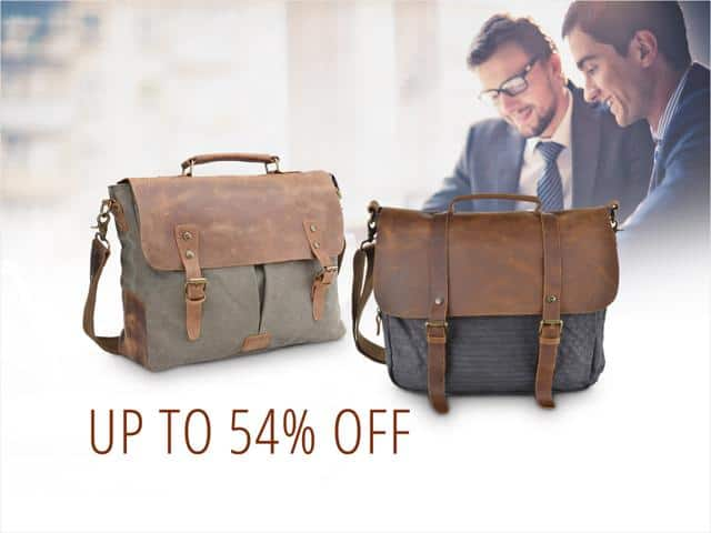 Gootium 21108GRY-L Vintage Canvas Real Leather Messenger Bag for $36.99 + Free Shipping