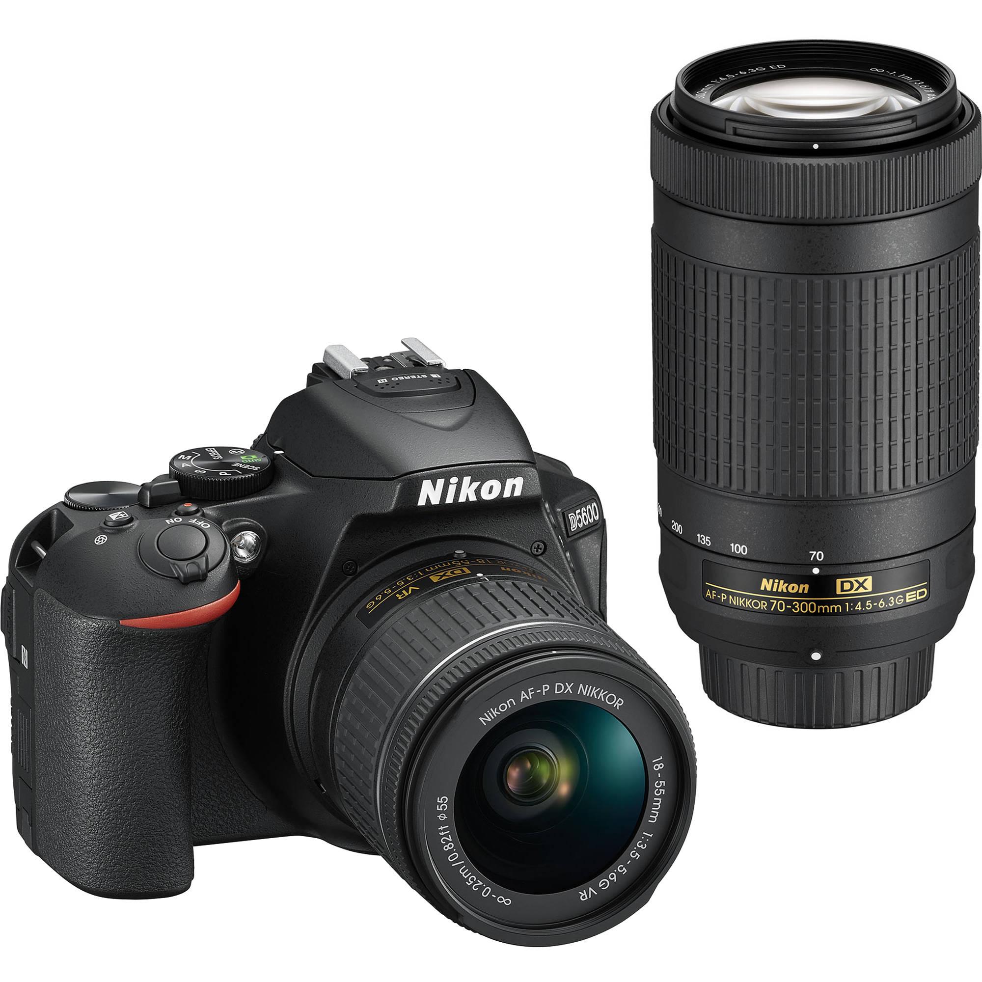 Nikon D5600 DSLR Camera Kit w/AFP DX 18-55mm f/3.5-5.6G VR AFP DX 70-300/4.5-6.3G Lenses Bundle $796.95, Nikon D750 FX-Format Digital SLR Body Only Camera Bundle w/ Free Grip $1497