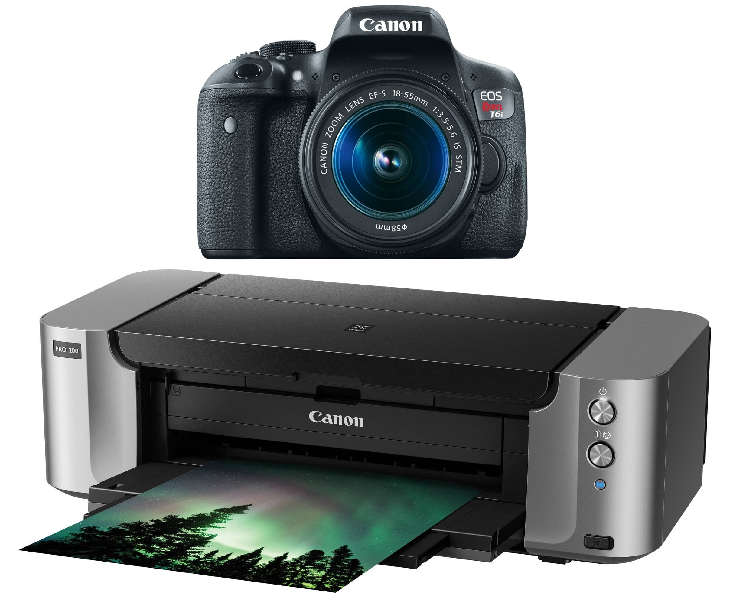 Canon EOS Rebel T6i DSLR Camera With 18-55mm IS STM Lens And Pixma Pro-100 Printer for $549 MIR + Free Shipping