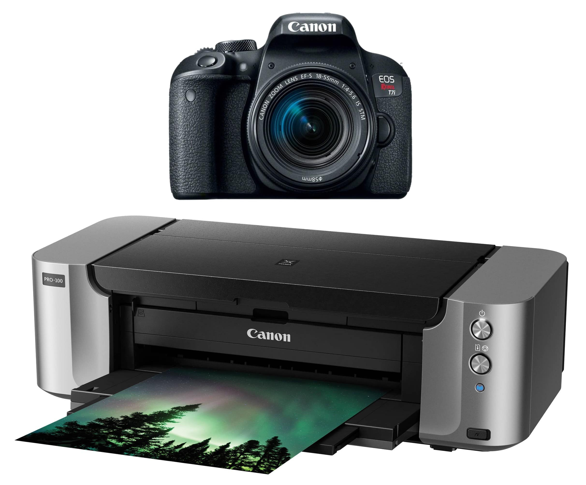 Canon EOS Rebel T7i DSLR Camera With 18-55mm STM Lens Kit And Pixma Pro-100 Printer for $599.99 AR + Free Shipping