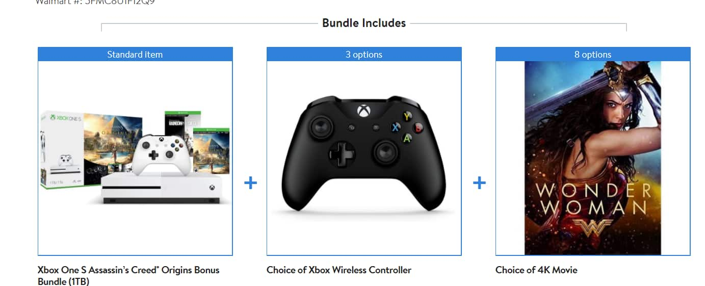 1TB Xbox One S Assassin's Creed Origins Bonus Bundle + Choice Xbox Wireless Controller (Includes Winter Forces) + Choice of 4K Movie for $299 + Free Shipping or Store Pickup