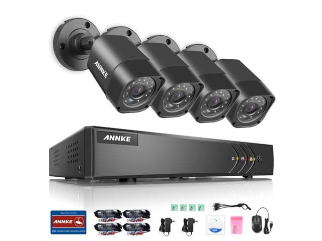 ANNKE 8CH Security System 720P DVR 1080P NVR Video Recorder and (4) 1280 TVL Weatherproof Surveillance Cameras with IR-Cut Built-in (No Hdd Included) $69.99 Shipped