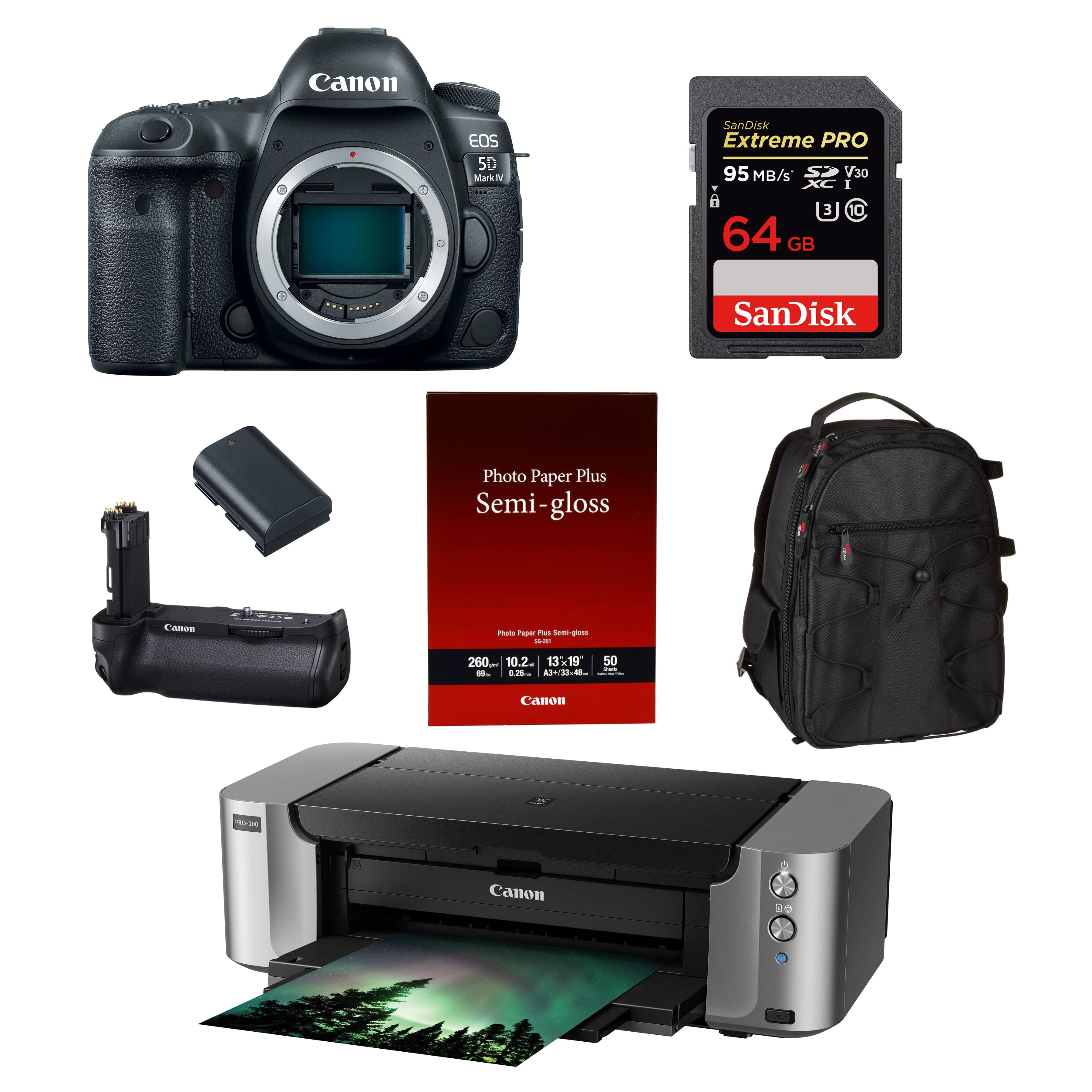 Canon EOS 5D Mark IV 30.4MP Full Frame DSLR Camera Body With BGE20 Grip + Pixma Pro-100 Printer + Paper + 64GB Memory Card + Spare Battery + Photo Backpack $2849 AR + FS