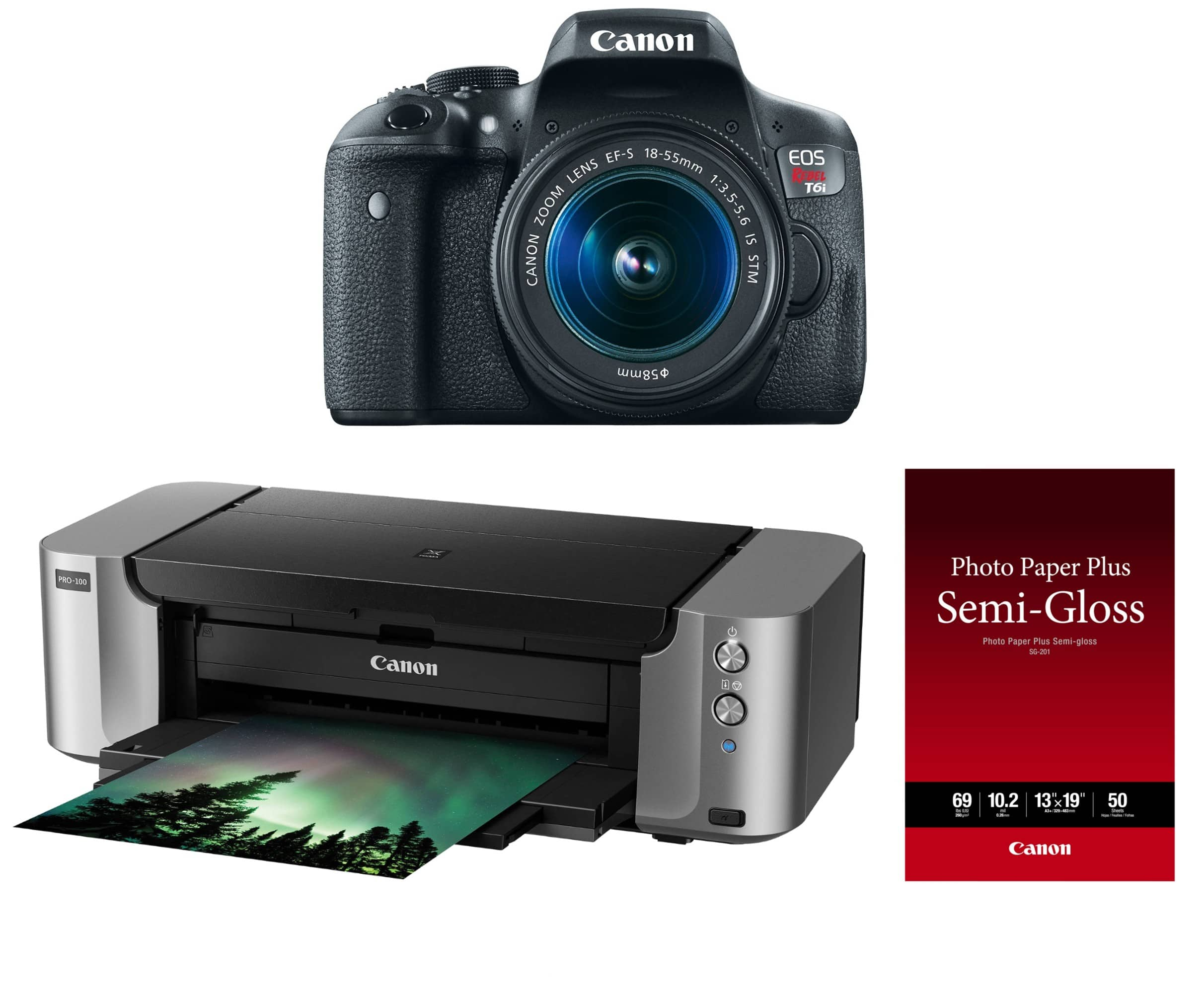 Canon T6i w/ 18-55mm IS STM Lens + Pixma PRO Printer + Paper $469 AR, Canon SL2 DSLR With EF-S 18-55mm F/4-5.6 Lens And Pixma PRO-100 Kit $449 AR
