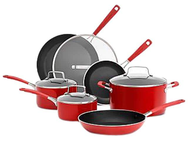 KitchenAid Aluminum Nonstick 10-Piece Cookware Set (Red) for $69.99 Shipped