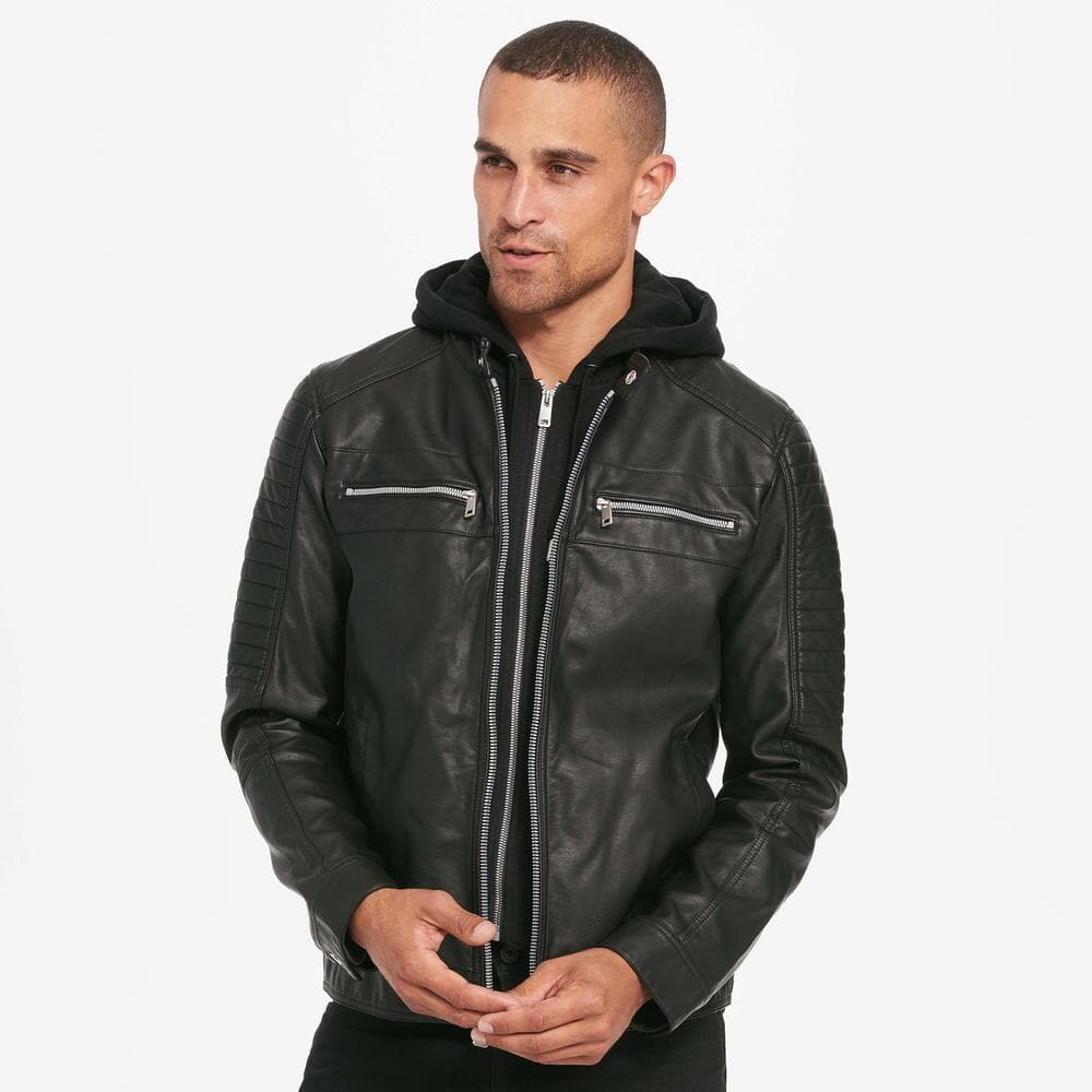 Wilsons Leather Black Rivet Mens Rugged Faux-Leather Cycle Jacket w/ Removable Hood for $53.99 + Free Shipping