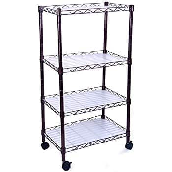 4 Tiers Adjustable Wire Metal Shelving Rack with Casters $22.99 AC + Free Shipping
